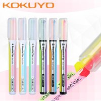 Highlighters KOKUYO Highlighter Beetle Tip Double-head Marker Pen Light-colored Student Color Hand Double Line PM-L303
