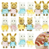 2PCS 1 12 Forest Animal Family Baby Dolls 4.5CM Rabbit Bear Panda Action Figure Dollhouse Accessories Play House Toys For Girl H1011