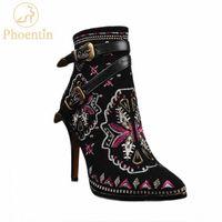 Phoentin Emproid Stiletto Çizmeler Kadın Moda Hakiki Deri Süet Ayak Bileği Çizmeler Bayanlar Dar Bant Toka Ayakkabı Siyah FT811 C7HQ #