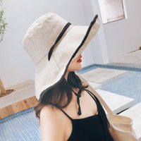 Wide Brim Hats Women Sun-Protection Bucket Great Shade Drawstring Female Vacation Caps Leisure Fashion Fisherman Lady All-match Simple