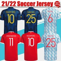 Font # 7 Ronaldo # 25 Sancho Home Vermelho Jersey 2021/2022 # 11 Greenwood # 18 B.Sfernandes Camisa de futebol 21/22 # 10 Rashford # 6 Pogba # 23 Shaw 3º uniforme de futebol + patch