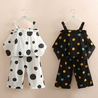 Casual 3 4 6 8 10 12 Years White Black Polka Dots Suits Baby Kids Girls Summer Strapless Vest + Shorts 2 Pcs Clothing Set 210529