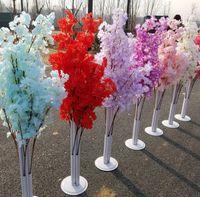 Renkli Yapay Kiraz Çiçeği Ağacı Roma Sütun Yol Uçuş Düğün Alışveriş Merkezi Açılan Props Demir Sanat Çiçek Kapıları