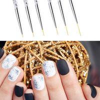 Nail Art Kits 3Pcs Brush Drawing Painting Flower Liner Pen Marble Pattern Handle UV Gel Polish Manicure Tools Set 5 7 9mm 11 15 20mm