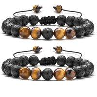 2Pcs Handmade Strands Bracelet Natural Tiger Stone Charm Onyx Beads Couple Distance Bracelets for Women Men Friend Gift Stretch Jewelry Wholesale Item