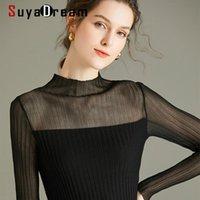 Frauenpullover Suyadream Frau Schwarze Wolle 100% Wolle Mock Neck Sexy Transparent Hülsen Pullover 2021 Herbst Winter Top