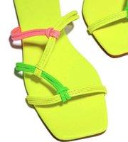 2021 Spring and Summer Jaune Solée à viscose à viscose Cuir Cuir Plat Chaussons Femmes Chaussons Femmes Artificielles PU Casual Sandales à talon