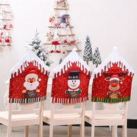Christmas Decoration Cartoon Santa Claus Snowman Deer Chair Covers Dining Seat Stool Home Party Decor WB2917