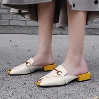 KMeioo Brands Luxury Brands Leather Muller Scarpe Femmina New Fashion Classic Pantofole Suqre Toe Outer Wear Miachers Bassi Tacchi Sandali