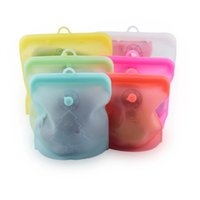 Silicone Reusable Food Bag Set 1500ml 1000ml 500ml Leakproof Containers Fresh Bags Storage Freezer Snack DHL Free Freight