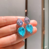 Megin D White Gold Drop Luxury Crystal Blue Stone Vintage Boho Pendant Collar Chain Necklace Stud Earring Jewelry Set for Women