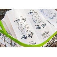 선물 포장 맞춤형 Preze 호의 가방, 소박한, 침례, 베이비 샤워, 우리는 매듭, 키 큰 필라델피아 또는 프레첼 스틱, 이름, 통로 종이 가방을 묶었습니다.