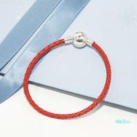 أحمر مضفر جلدية سحر سوار مربع الأصلي مجموعات لبندرا 925 فضة مصمم فاخر مجوهرات النساء أساور رجالي