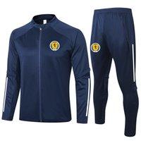 2021 İskoçya Futbol Eğitim Takım Elbise Yetişkin Futbol Eşofman Setleri Kitleri Spor Tam Fermuar Ceketler ve Pantolon Eğitim Setleri Erkek Eşofman
