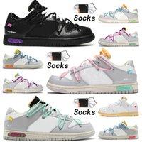 최고 품질의 SB 덩크 x ow 캐주얼 신발 덩크 50 망 여성의 로트 4 개 1 가죽 화이트 블랙 오리지널 플랫폼 디자이너 스포츠 크기 36-45