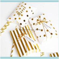 Wrap événement Festive Party Fournitures Accueil Garden5PCS Cadeau Coussin Boîte Boîte à rayures Golden Doques Sac de papier Merci merci Candy Wedding Packag
