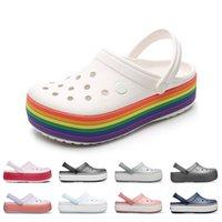 Zapatos de verano Mujeres Agujero Slip en plataforma Zuecos Arco iris Sandalias Piscina Playa Jardín al aire libre Dama Casual Agua