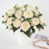 Decorative Flowers & Wreaths 5 Big Heads Bouquet Peonies Artificial Silk Bouquet 4 Bud Wedding Home Decoration Fake Peony Rose Flower