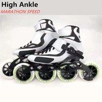 Haute cheville 4 roues Marathon Inline Speed Skates Skates 90mm 100mm 110mm Street roller rouleau rouleau de la fibre de carbone Bottes enfants enfants adultes