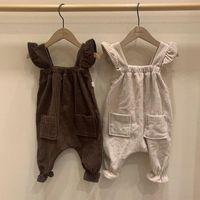 2021 Новая мода милые новорожденные дети девочка комбинезон мальчик нагрудник брюки брюки боди комбинезон ведурой одежды детская одежда размер 1-3Y