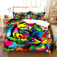 Bedding Sets Colorful Animal Lion 3D Printing Quilt Cover Bed Three Piece Set Children's Bedroom Supplies Cartoon Pillow Case