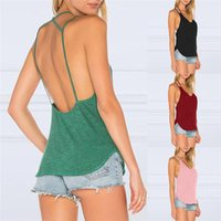 Women's Tanks & Camis Female Sexy Sleeveless Vest Backless Tops Open Back Crop A Line Shirt