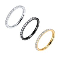 Crystal Clear Zircon Earrings Hoops Hiphop Rock Hinged CZ Segment Ring Clicker Ear Cartilage Nose 16G Steel Gold 210723