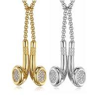 Hip Hop Eiled Headset Anhänger Halskette Frauen Männer Gold Farbe Edelstahl CZ Kopfhörer Mode Hiphop Schmuck Männliche Geschenk