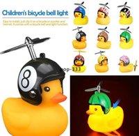 LED Brinquedos Bicicleta Pato Bell Com Luz Quebrada Vento Pequeno Amarelo MTB Road Bike Motor Capacete Ciclismo Acessórios Luzes