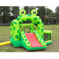 Frogs Inflatable Jumping Bouncer House Garden Supplie Bouncy Castle for Kids Birthday Gifts Bouncers Frog Prince Castles with Pool and Slide Happy Bouncing Green