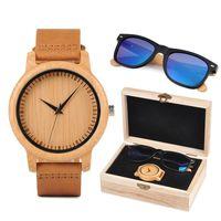 Wristwatches Christmas Gift BOBO BIRD Custom Wood Watch And Sunglasses Set For Men Women Present Family