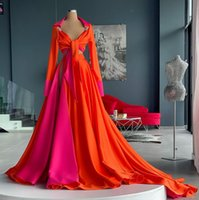 2022 Sexy Orange And Fuchsia Splicing Evening Dresses Two Pieces Full Sleeve Empire Waist Shirt Prom Dress With Long Train Side Split Women Special Occasion Gowns