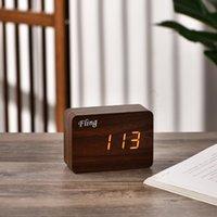 Desk & Table Clocks FLING Digital Alarm Clock Desktop Calendar Temperature Display Voice Control Wooden Despertador Night Watch