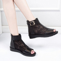 Spring And Summer European And American New Fish Mouth Ladies Sandals Shoes Woman Fashion Mesh Flat Heel Roman Sandals Mujer 66Nn#