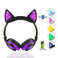 Birthday Gift Earphones Wireless Bluetooth Earphone Foldable Flashing Cat Ear Children Headphones Gaming Headset With LED Light