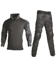 Tactical Combat Uniform Multicam Shirt + Pant Elbow Knee Pads US Army clothing Black Camo Suit Hunting Clothes