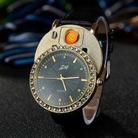 손목 시계 2021 터치 센서 스위치 라이터 시계 남자 럭셔리 다이아몬드 골드 쿼츠 USB 충전 Flameless Gifts