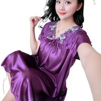 Women's Sexy Faux Silk Satin Nightgowns Women Nightwear Summer Ladies Sleepwear Female Night Shirts Home Clothing 2021