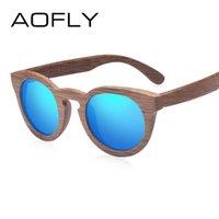 Afly Mode Polarisierte Sonnenbrille Bambus Sonnenbrille Männer Frauen Handgemachte Bambusrahmen Marke Design Oval Stil Spiegellinse AF602