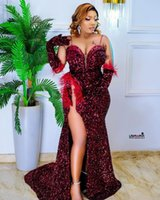 2021 Plus Size Arabic Aso Ebi Burgundy Mermaid Sexy Prom Dresses Sequined High Split Evening Formal Party Second Reception Gowns Dress ZJ666