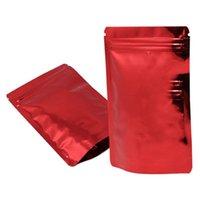 100pcs 광택 빨간색 스탠드 업 마일러 호일 가방 자기 인감 재사용 가능한 눈물 노치 스토리지 Doypack 캔디 콩 파우치