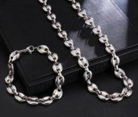 Vente chaude 24 '+ 8.66' 'Garçons Colliers pour hommes Café Beans Chaîne Bracelets Ensemble en acier inoxydable 9mm Silver Link chaînes HiPhop bijoux USANSET