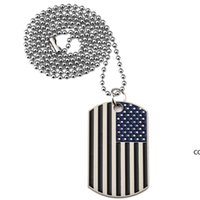 جديد العلم الأمريكي المعلقات القلائد مطلية بالذهب الفولاذ المقاوم للصدأ العسكرية الجيش العلامة العصرية الولايات المتحدة الأمريكية رمز للرجال / النساء المجوهرات DHE8220