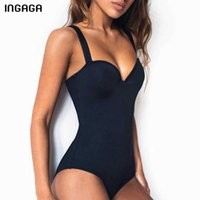 INGAGA Push Up One Piece Swimsuit Women Swimwear Solid Black Bodysuit Bathers 2021 New Bathing Suits Sexy Summer Beach Wear