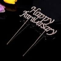 Glückliches Jubiläumstorte Topper Glitter Legierung Strass Geburtstag Party Kuchen Pick Decoration Supplies (Gold)
