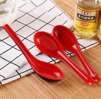 Rojo Negro Color Melamina Cucharas Casas Flotware Japonés Plástico Plástico Sopa Porridge Cuchara GWA9306