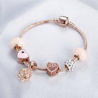 Bracelet en or rose Cherry Blossom Tassel Ball Boule Cristal Perle Pendentif Charme Bracelets Bracelets pour femmes Bijoux Girl Cadeaux