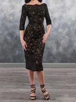 Sexy Black Lace Mother's Dresses Tea Length Mother of the Bride Dress Zipper Back Elegant Beatue Three Quarter Sleeves