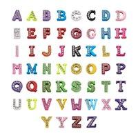 Encantos 52pcs / set Multicolor Zinc Aleación de aleación de grado A Rhinestone Letra Diapositiva 26 A ~ Z para joyería Haciendo decoración Accesorios