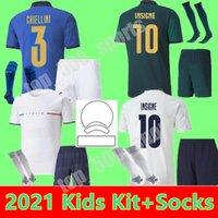 Italia Kits Kits 2021 Jersey de fútbol Inicio Alejado Jóvenes Jorginho El Shaarawy Bonucci Insigne Bernardeschi 21 22 Camisetas de fútbol